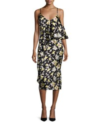 Cinq A Sept Zuri Floral Cold Shoulder Slip Dress Green Black Green Black