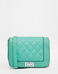 Liquorish Quilted Cross Body Bag Green