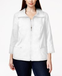 Jm Collection Plus Size Solid Front Zip Jacket Only At Macy's Bright White