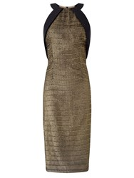 Ariella Leo Short Halterneck Dress Gold