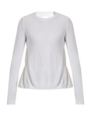 N 21 Ruffled Back Cotton Blend Sweater White