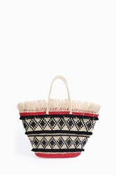 Sensi Studio Frayed Oval Base Tote Red