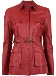 Spacenk Nk Leather Trench Coat Red