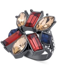 Guess Hematite Tone Geometric Crystal Statement Ring Multi