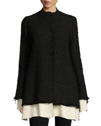 The Row Schrader Contrast Trim Boucle Jacket Black White Black White