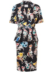 Jason Wu Floral Shirt Dress Silk Crepe Black