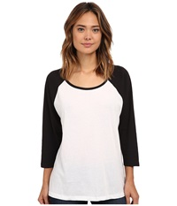 Hurley Solid Slouchy Raglan White Black Women's Long Sleeve Pullover
