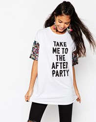 Asos T Shirt With Print And Rainbow Sequin Sleeve White