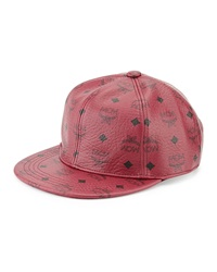 Mcm Logo Print Canvas Cap Red