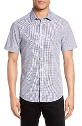 Vince Camuto Men's Short Sleeve Sport Shirt Red Brown Check Red Dot Dobby
