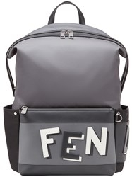 Fendi Collage Printed Backpack Calf Leather Polyamide Polyester Polyacrylic Grey