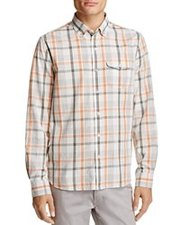 Michael Bastian Plaid Regular Fit Button Down Shirt Coral Orange