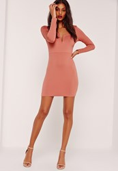 Missguided V Bar Plunge Long Sleeve Bodycon Dress Pink Pink