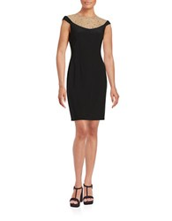 Betsy And Adam Embellished Illusion Dress Black