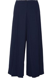 Michael Kors Collection Pleated Wool Wide Leg Pants Navy
