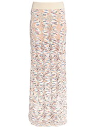 Missoni Wool Blend Open Lace And Tweed Knit Skirt