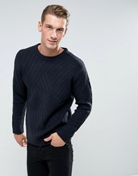 Bellfield Sweater With Rib Texture Navy