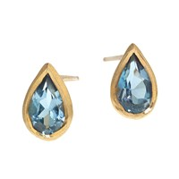 Rhiannon Lewis Jewellery Topaz And Gold Vermeil Teardrop Studs Blue Gold
