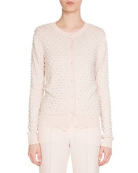 Givenchy Pearly Crewneck Button Front Cardigan Light Pink