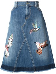 Red Valentino Bird Patches Denim Skirt Blue