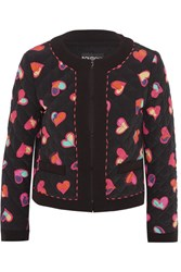 Boutique Moschino Quilted Printed Silk Crepe De Chine Bomber Jacket Black