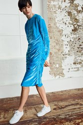 Topshop Velvet Ruched Dress By Boutique Baby Blue