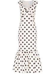 Rebecca De Ravenel Polka Dot Bow Detail Maxi Dress White