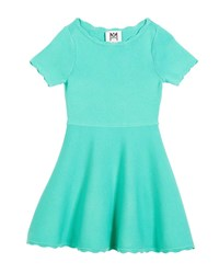 Milly Minis Scallop Flare Dress Green