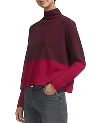 Whistles Two Tone Color Blocked Wool Sweater Fig