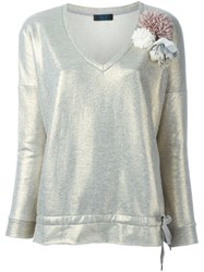 Twin Set Jeans Flower Appliqua Sweatshirt Grey
