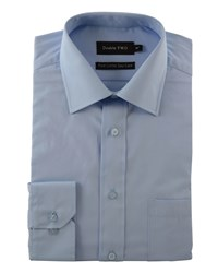 Double Two Plain Poplin 100 Cotton Shirt Glacier