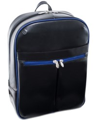 Mcklein Avalon 15.4 Leather Slim Laptop Backpack Black Navy Trim