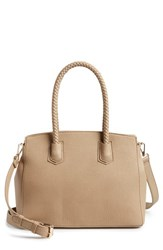 Sole Society Lexington Whipstitch Faux Leather Satchel Brown Taupe