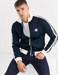 Pretty Green Contrast Taped Track Jacket In Navy