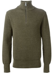 Ami Alexandre Mattiussi Zipped Sweater Green