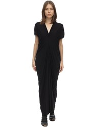 Rick Owens Rickowenslilies Draped Viscose Dress Black