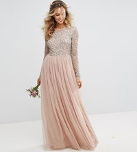 Maya Long Sleeved Maxi Dress With Delicate Sequin And Tulle Skirt Brown
