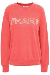 Frame Embroidered French Cotton Terry Sweatshirt Coral
