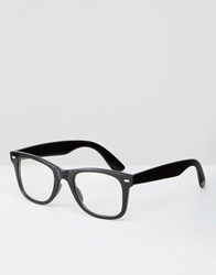 Asos Square Glasses With Clear Lens Black