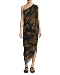 Urban Zen Animal Print One Shoulder Midi Dress Black Brown Black Brown