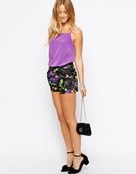 Max C London Max C Tailored Shorts In Watercolour Floral Print Black