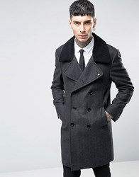Noose And Monkey Herringbone Double Breasted Overcoat With Borg Collar Charcoal Grey