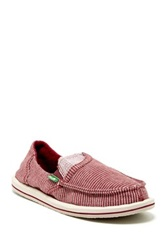 Sanuk Pick Pocket Stripes Micro Fleece Lined Flat Red