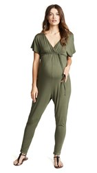 Ingrid And Isabel Maternity Cross Front Jumpsuit Olive