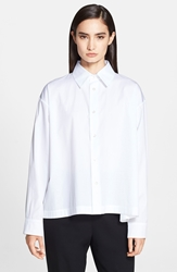 Eskandar Slim A Line Cotton Poplin Shirt White