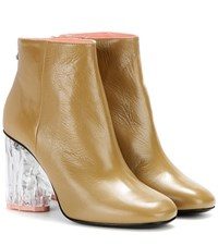 Acne Studios Ora Glass Embellished Leather Ankle Boots Beige