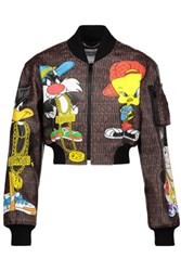 Moschino Cropped Printed Faux Leather Jacket Multi