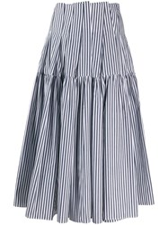 Jourden Striped Midi Skirt Blue