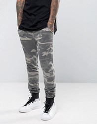 Asos Skinny Jogger In Washed Camo Print Camo Green