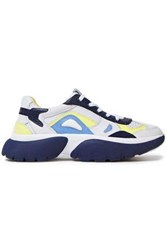 Maje Woman Color Block Pebbled Leather And Mesh Sneakers Navy
